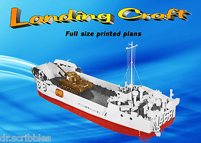 """Model WWII Boat Plans 1:48 Scale 30"""" R/C Landing Craft Plans & Building Notes"""