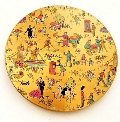 Vintage Made in England Powder Compact with EXQUISITE London's Scene. Must See!