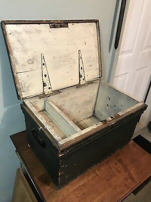 Antique Carpenters Wood Toolbox With Great Paint