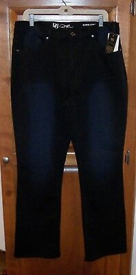 "Diane Gilman Dg2 16W Black Superstretch Lite Boot Cut Jeans Hips 45"" Ins. 31 1/2"