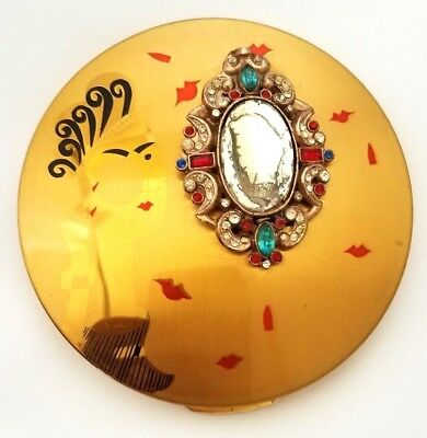 Vintage Rare Columbia Fifth Avenue Compact With Lady & Jeweled Mirror.