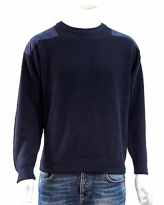Navy Ansett Pure Wool Fisherman Rib Jumper Sweater Knitwear With Elbow Patches