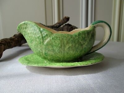 Vintage Retro - Small Sauce / Gravy Boat - Ceramic Lettuce Cabbage - Unmarked