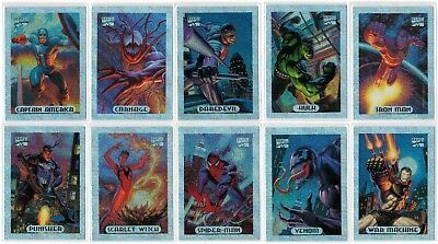 137b17c73bf 1994 Marvel Masterpieces Series Iii 3 Silver Holofoil 10 Card Insert Chase  Set