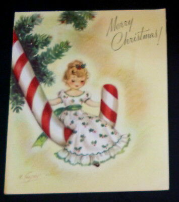 Pretty Girl Candy Cane Ornament Tree VTG XMAS Card Marjorie Cooper Rust Craft