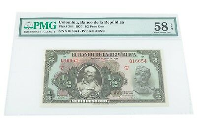 1935 Colombia 1/2 Peso Oro Graded by PMG as Choice AU 58 EPQ! P# 384 High Grade!
