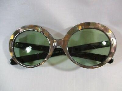"""Vtg. Mother-Of-Pearl LG. Lense """"Jackie O"""" Green Tint Sunglasses Hand Made France"""