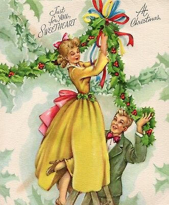 Pretty Lady Woman Girl Pink Yellow Dress Decorate VTG Christmas Greeting Card