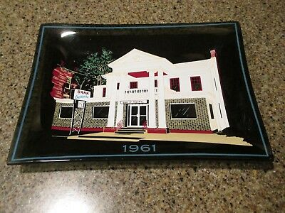 Vintage Painted Glass Tray - 1961 Bank of Oquawka