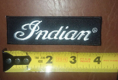 "4"" x 1"" INDIAN MOTORCYCLE SCRIPT PATCH..Iron On..FAST FREE SHIPPING! !"