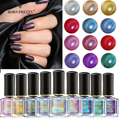 Holographic Glitter Nail Polish Laser Nail Art Varnish BORN PRETTY 6ml Nails DIY