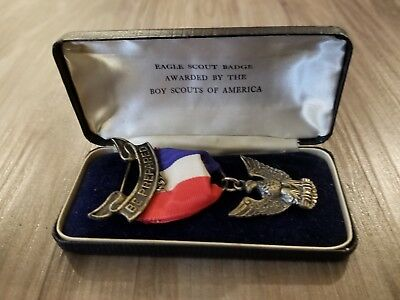 Vintage BSA Eagle Scout Sterling Silver Medal Badge 1940's Ribbon Pin Boy Scout