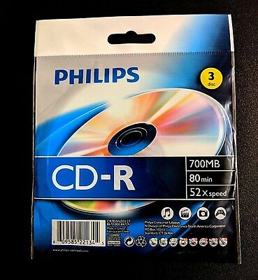 Philips CD-R 3 Pack 700 MB 80 Minutes 52 X Speed Brand New Sealed