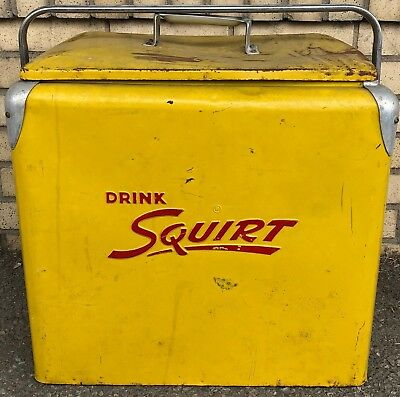 Vintage 1950's Drink Squirt Soda Pop Picnic Cooler Embossed Metal Ice Chest Tray