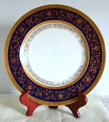 Fabulous Vintage Minton Tiffany & Co. Cobalt Blue Gold Encrusted Dinner Plate