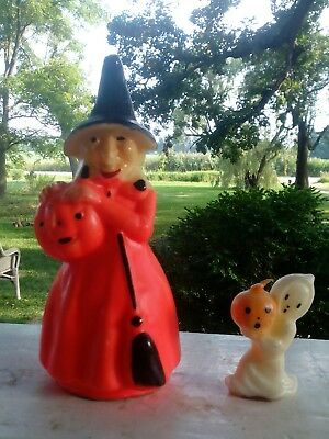 2 Pc Vintage Unlit GURLEY Halloween WITCH & GHOST CANDLES
