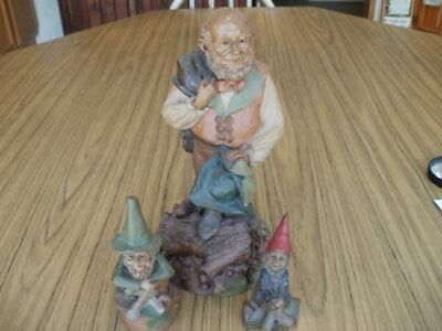 """Lot of 3 Tom Clark Gnomes, (Thistle HUGE 11"""" TALL),Michael,Ma"""