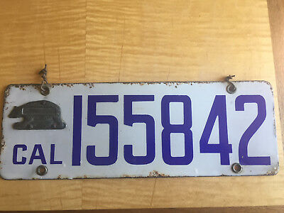 California 1916 original porcelain license plate, bear tab with space for name