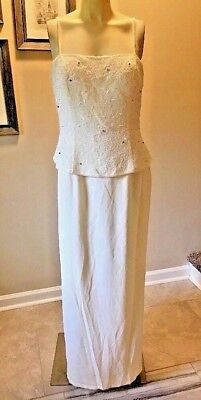 Chica's Dress Large Beaded Ivory Full Length Formal Jacket Wedding Mother Bride