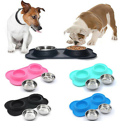 Double Dog Cat Food Bowls Set Pet Feeder With No Spill Non Skid Silicone Mat