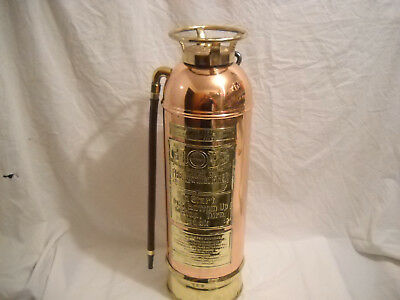 "Antique Copper & Brass   ""globe Sprinkler Co.""  Soda Acid 2 1/2 Gal. Fire Exting"