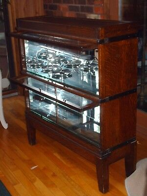 antique globe wernicke sectional mirrored oak  bookcase, 2 sections, stacking