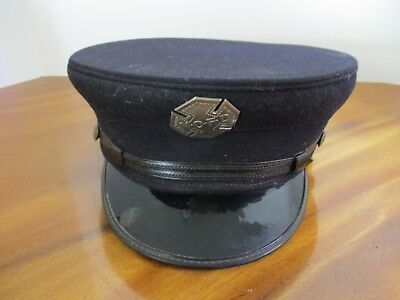 Vintage New Orleans Wool Wentworth-Forman Fireman Capt Hat Cap Nofd Badge