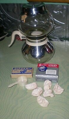 Vintage Silex Vacuum Coffee Maker Pot Ivory & Chrome Accents With 2 Bonus Items