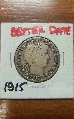 1915 Barber Silver Half Dollar *LOW MINTAGE BETTER DATE!! SCARCE KEY DATE