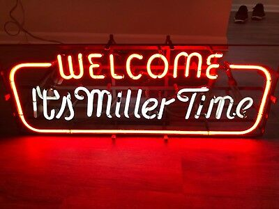 Vintage Neon Beer Sign - It's Miller Time