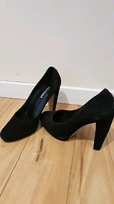 Black Velvet Mollini Size 37 Chunky Heels Great Condition 11cm Heels Comfortable