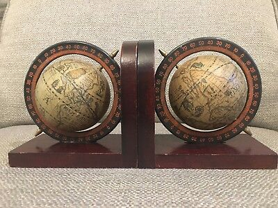 Vintage Pair Old World Map Globe Bookends Spinning | Rotating Wood Base