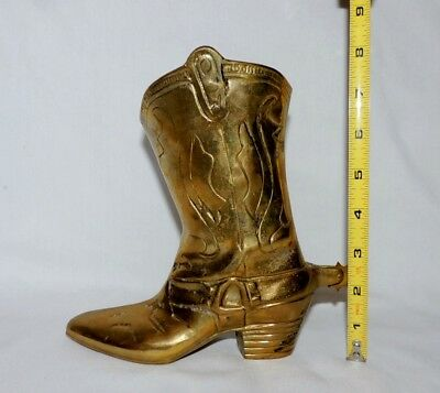 Vintage Large  Solid Brass Cowboy Boot ~ Decorative Ornament Heavy Design