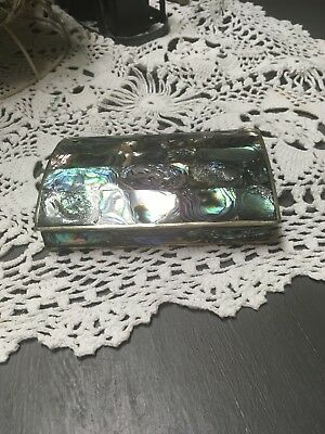 Trinket Box  Alpaca Silver Mother of Pearl Inlay - Wood Lined Mexico