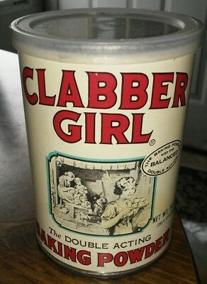 Original 1991 Clabber Girl Baking Powder Tin Can 10 oz ~ HUGE SALE - CHECK STORE