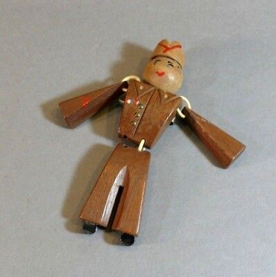 WWII Sweetheart Jewelry Pin Articulated Carved Wood Army Infantry Soldier Brooch