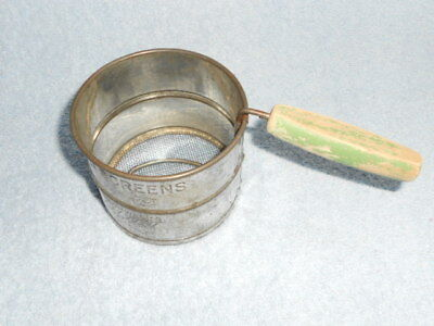 Vintage small Bromwell's Duet metal kitchen flour sifter with green wood handle
