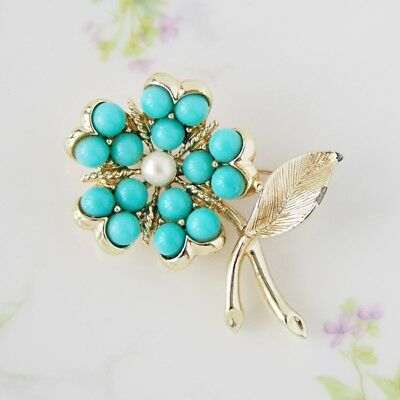 Vintage Sarah Coventry Blue Beads Flower Floral Brooch Pin Jewelry / CJ3575