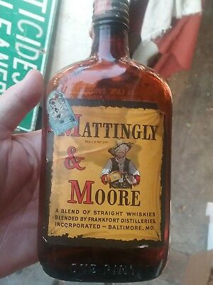 Vintage Mattingly & Moore Whiskey Bottle One Pint 1930's