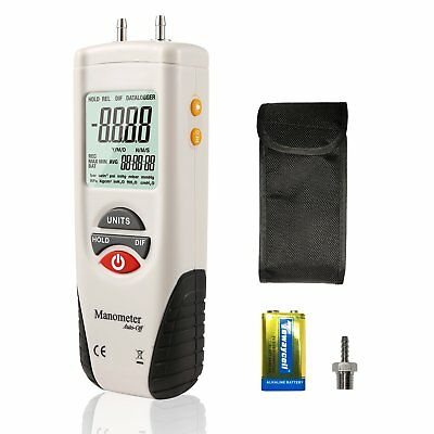 Digital Manometer,Dual Port Air Pressure Meter Pressure Gauge HVAC Gas Tester,La