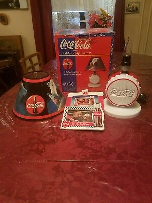 Vintage Coca-Cola Bottle Cap Lamp and Picture Frame  with Shade/ Original Box.