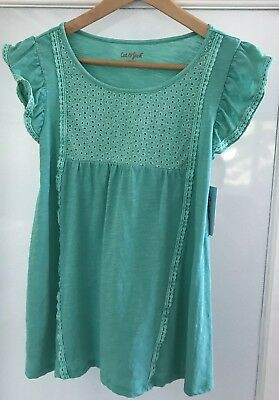 Cat & Jack Girls Aqua Top Size L 10/12