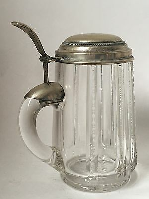 Antique Tankard Silver Sterling Signed Crystal 0,5L Lidded Stein Beer Mug