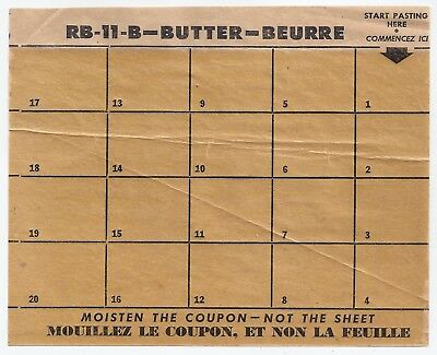 WW2 WWII butter ration coupon sheet - Canada