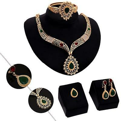 Crystal Rhinestone Tear Drop Earring Necklace Wedding Prom Bridal Jewelry Set ZH