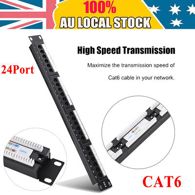24 Port Data Patch Panel CAT-6 19 inch Anti-interference Network Cable Rack