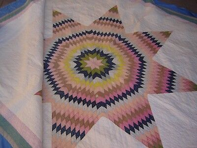 Vintage King 105x85 Handmade Handstitching Quilted Quilt Blanket Lone Star Quilt
