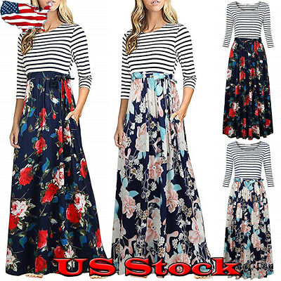 e9ae079e7 Women's Striped Floral 3/4 Sleeve Waist Tie Long Maxi Party Dress With  Pockets