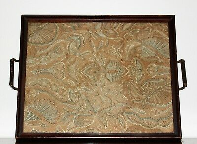 19th C Antique Forbidden Stitch Embroidery Silk Framed in Tray Roosters Foliage