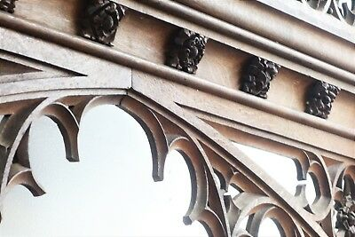 19C English Gothic Spire Curved/Carved Tiger Oak Church Organ Surround